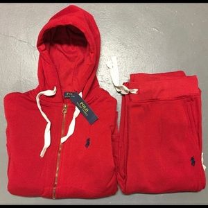 brand new red polo sweatsuit